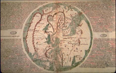 Pietro Viscente的世界地图1321,来自Marino Samuolo's Liber Secretum Fidelium Cruis