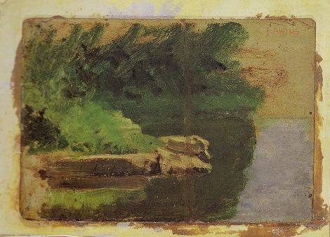 Eakins landscape sketch for The Swimming Hole