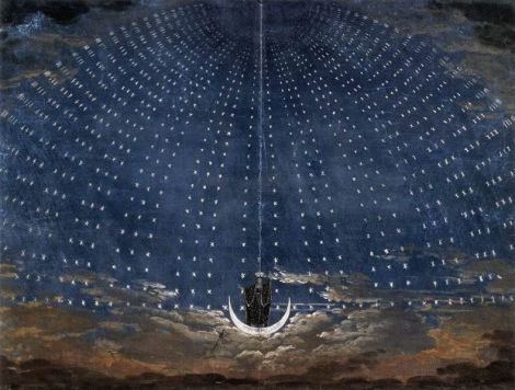 "Karl Friedrich Schinkel (1781–1841), Backdrop for the appearance of the ""Königin der Nacht"" in Wolfgang Amadeus Mozart's opera The Magic Flute"